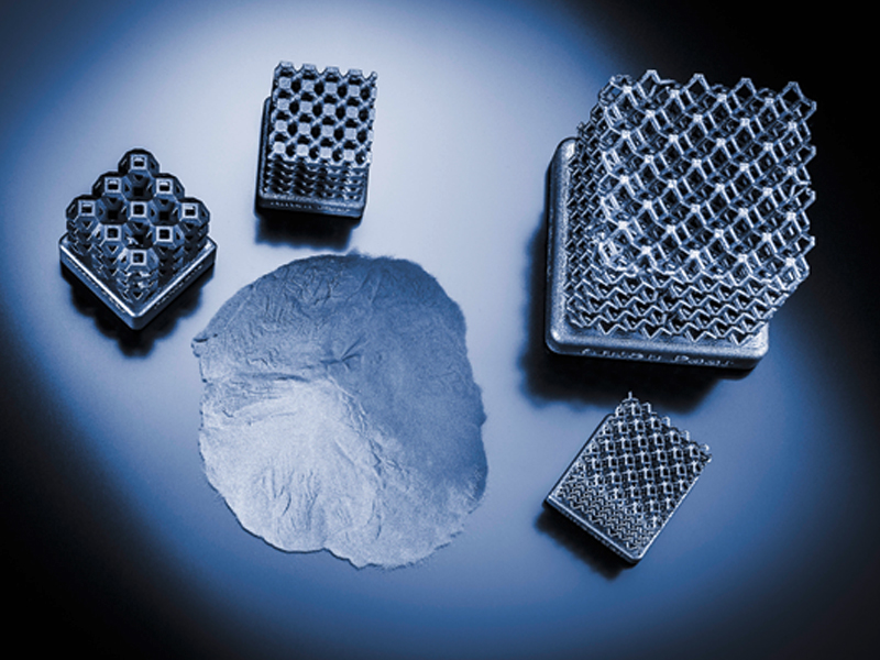 Metal and polymer powders in additive manufacturing.
