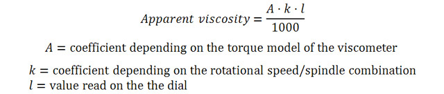 Equation 1: Formula for the calculation of the apparent viscosity if using a dial reading instrument