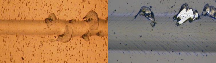Cohesive failure (left) vs. adhesive failure of a coating