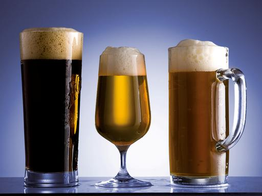 Figure 2: From left to right: dark-colored beer, beer with low turbidity, beer with high turbidity.