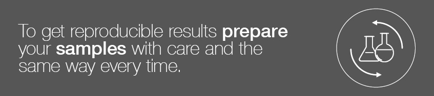 To get reproducible results prepare your samples with care and the same way every time.