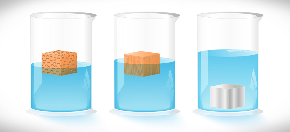 Visualization of experiment: different materials in water, some swim some sink