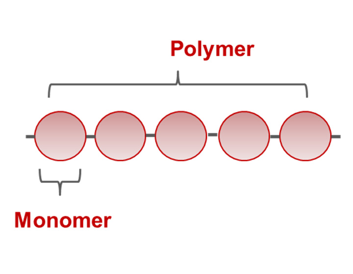 Five identical monomers (shown as circles) composing one polymer