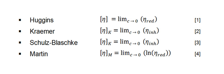 Equations for intrinsic viscosity calculations when measuring several polymer solutions of different concentrations.