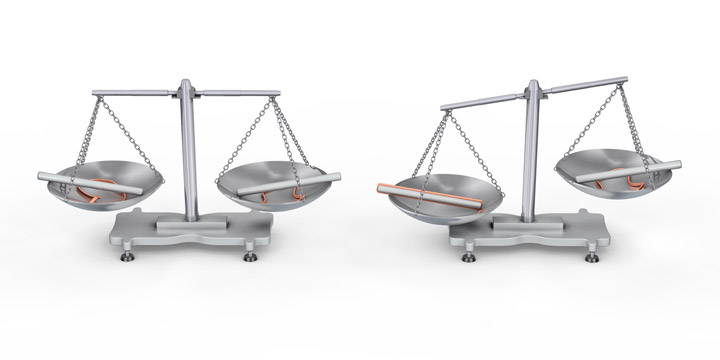 Left: Balanced beam balanced. Right: Unbalanced beam balance