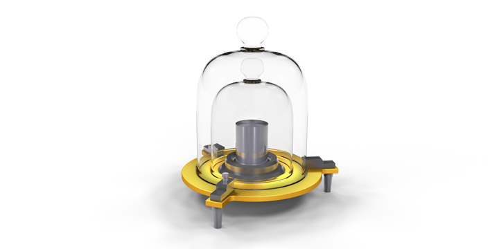Replica of the original kilogram prototype.